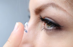 Lady Wearing Contact Lenses Casey Optometrist